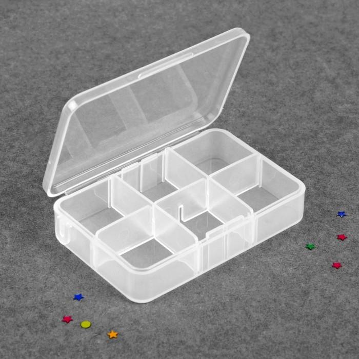 Контейнер для декора, 6 ячеек, 9 × 6 × 2 см, цвет прозрачный