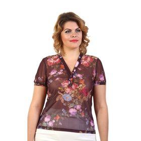 Блузка женская, размер 48, шоколадный принт Ош