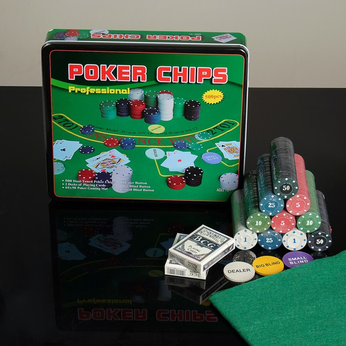 Покер, набор для игры карты 2 колоды, фишки 500 шт, сукно 29х33 см