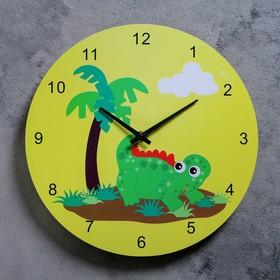 Часы настенные, серия: Детские,  'Динозаврик с пальмой', d=29.5 см Ош
