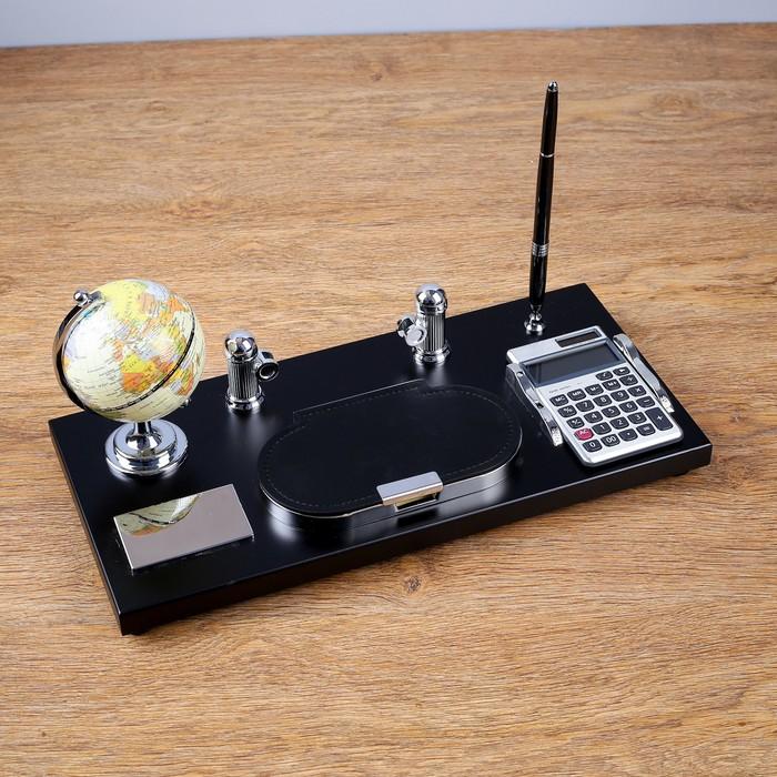 Набор настольный 5в1 (глобус+блок д/бумаги+подставка+калькулятор+ручка) 16*36см