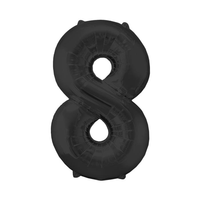 Шар фольгированный 16, цифра 8, индивидуальная упаковка, цвет чёрный