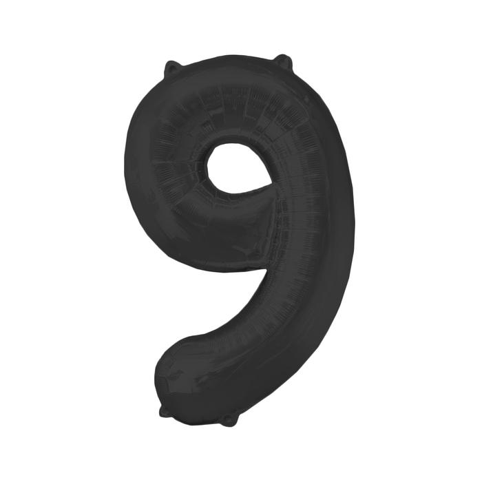 Шар фольгированный 16, цифра 9, индивидуальная упаковка, цвет чёрный