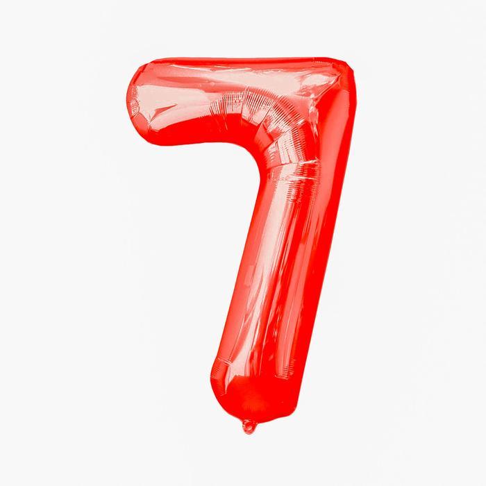 Шар фольгированный 16, цифра 7, индивидуальная упаковка, цвет красный