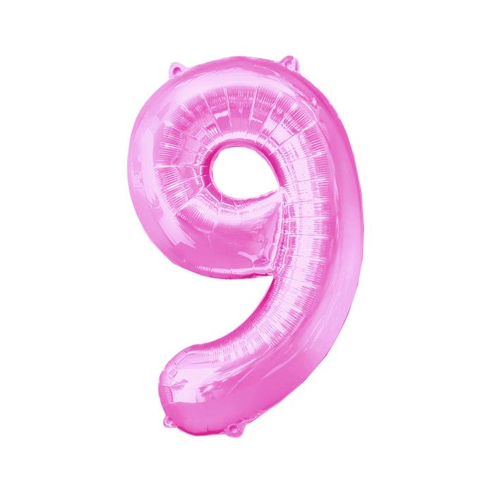 Шар фольгированный 16, цифра 9, индивидуальная упаковка, цвет розовый