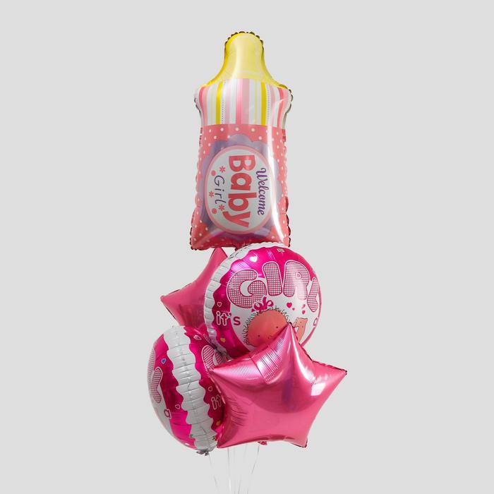"""Букет из шаров """"У нас девочка"""", фольга, набор из 5 шт., цвет розовый"""