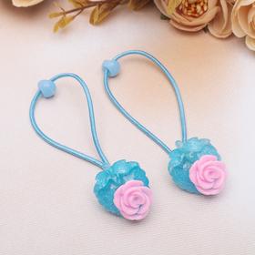 Резинка для волос 'Цветочный декор' роза (цена за пару) микс Ош