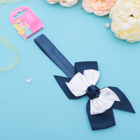 Повязка для волос 'Умница' бело-синяя, роза синяя, 18 см Ош