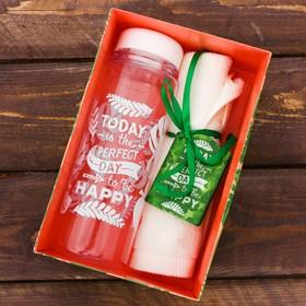 Набор «Perfect day»: бутылка для воды 500 мл, полотенце 30 см × 30 см Ош