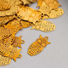 Декор для творчества металл 'Сова' золото 1,1х0,7 см Ош