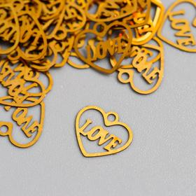 Декор для творчества металл 'Сердце love' золото 1,1х0,8 см Ош