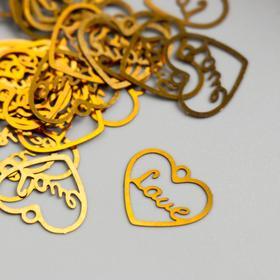 Декор для творчества металл 'Сердце love' золото 1,6х1,4 см Ош