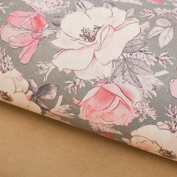 Бумага упаковочная крафтовая Цветы на сером, 50 70 см