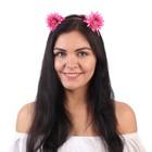 Гавайский ободок с ушками «Астры», цвет розовый