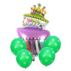"""Букет из шаров """"С днём рождения!"""", торт, фольга, латекс, набор 5 шт."""