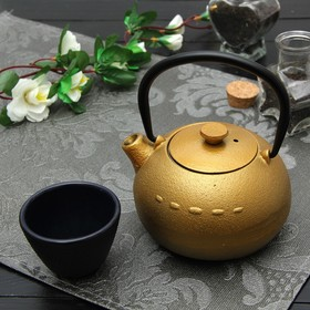 Чайник с ситом 300 мл 'Берг', цвет золотой Ош