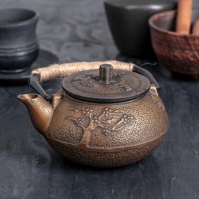 Чайник с ситом 300 мл 'Долголетие. Золото. Этно', цвет черный Ош