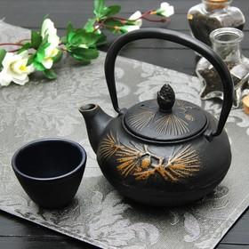 Чайник с ситом 500 мл 'Циру. Золото', цвет черный Ош