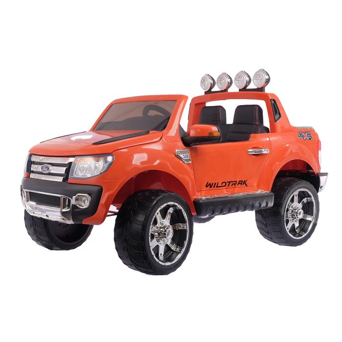 """Электромобиль """"FORD RANGER"""", EVA колёса, кожаное сидение, цвет оранжевый"""