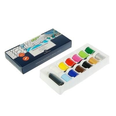 Краска по ткани, набор: 12 цветов х 18 мл, контур 22 мл, кисть; морозостойкая, BrunoVisconti (акриловая)