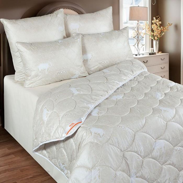 Одеяло облегченное 140х205 см, шерсть мериноса, ткань глосс-сатин, п/э 100%