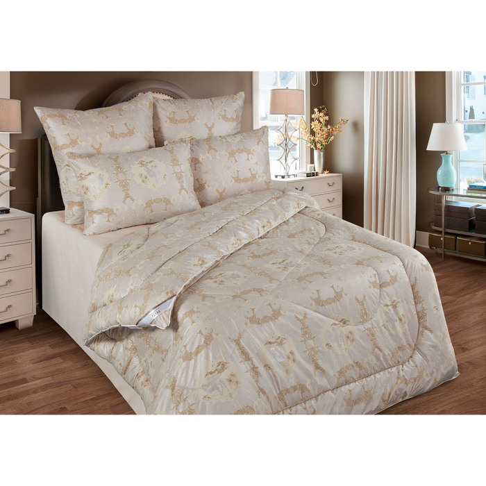 Одеяло обл. 220*205, ОВШ/020эк, шерсть верблюда, ткань глосс-сатин,п/э