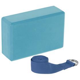 Набор для йоги (блок+ремень), цвета микс