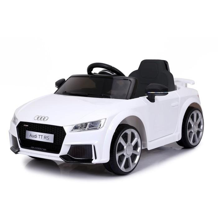 Электромобиль AUDI TT RS, окраска белый, EVA колеса, кожаное сидение