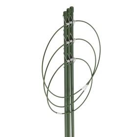Поддержка для цветов, 3 кольца, h = 45 см, зелёная