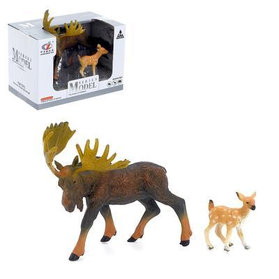 Набор животных «Лось/буйвол с детёнышем», 2 фигурки, МИКС - Фото 1