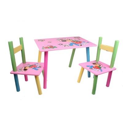 """Мебель детская """"Девочка с животными"""", набор: стол и 2 стула"""