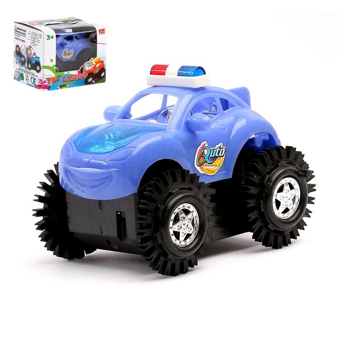"""Машина-перевертыш """"Полиция"""", работает от батареек, световые эффекты, цвета МИКС"""