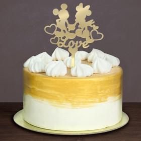 """Топпер в торт """"Love"""" Микки Маус и его друзья, с набором свечей, 12 шт."""