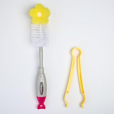 Набор по уходу, 3 предмета: ёршики для мытья бутылочек и сосок, щипцы, цвета МИКС