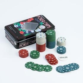Покер, набор для игры, фишки 100 шт с номин. 11.5х19 см Ош