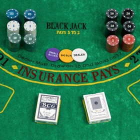 Покер, набор для игры (карты 2 колоды, фишки 240 шт с номин, сукно 60х90 см), микс Ош