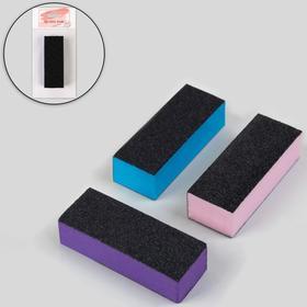 Баф наждачный для ногтей, трёхсторонний, 10 см, цвет МИКС