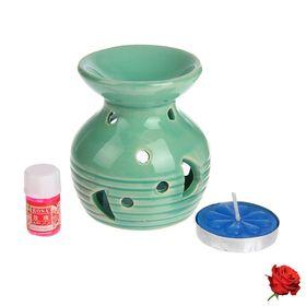 Набор 3 в 1 (свеча, аромалампа, аромамасло 'Роза') Ош