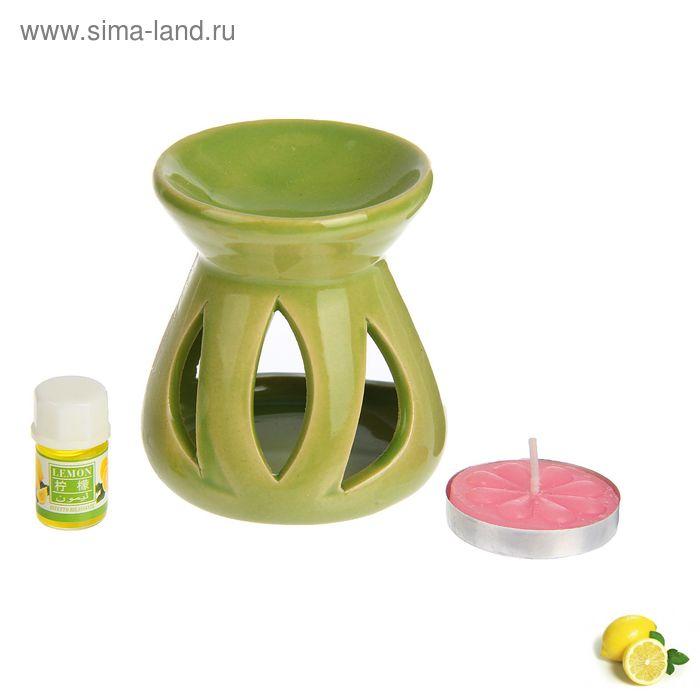 """Набор 3 в 1 (свеча, аромалампа, аромамасло """"Лимон"""")"""