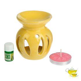 Набор 3 в 1 (свеча, аромалампа, аромамасло 'Зеленый чай') Ош