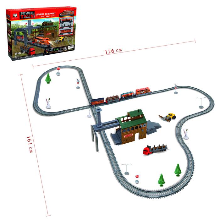 """Железная дорога """"Лесопилка"""" работает от батарек, длина пути 4,5 м."""