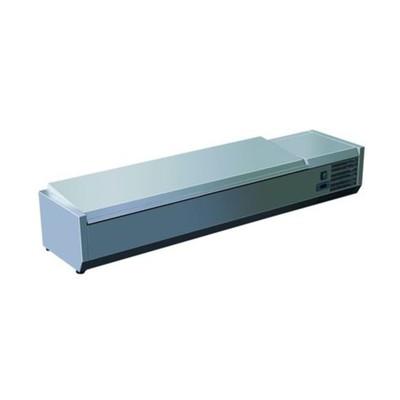 Витрина GASTRORAG VRX 1600/330 s/s, 220 Вт, +2 до +8°С, 8 гастроёмкостей GN 1/4, серебристая