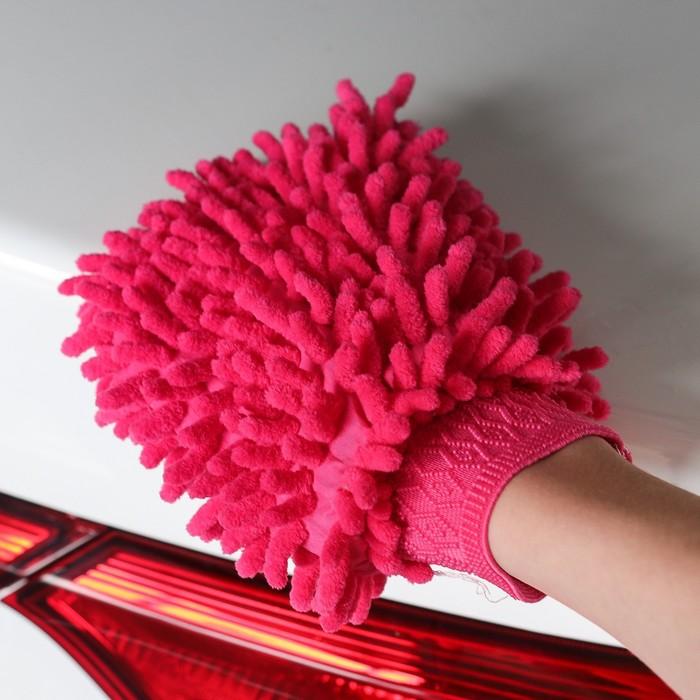 Варежка для уборки авто TORSO, двухсторонняя, 17×13.5 см, микс