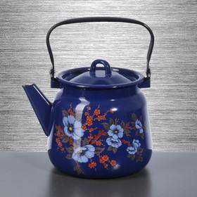 Чайник Сибирские товары, 3,5 л, с декором, цвет кобальтовый, рисунок МИКС