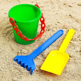 Песочный набор: ведёрко, лопатка, грабельки