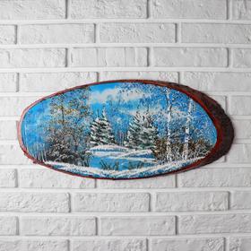 Панно на спиле 'Зима', 60 см, каменная крошка, горизонтальное, микс Ош