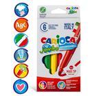 """Фломастеры 6 цветов Carioca """"Maxi. Jumbo"""" 6 мм, утолщенные, смываемые, картон, европодвес - Фото 1"""