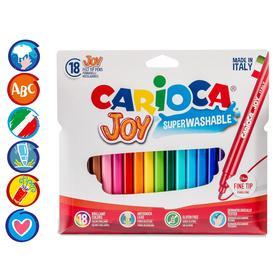 """Фломастеры 18 цветов Carioca """"Joy"""" 2.6 мм, смываемые, картон, европодвес"""