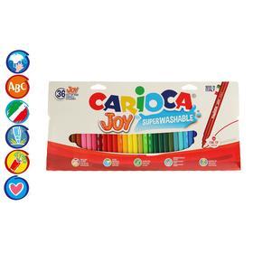 """Фломастеры 36 цветов Carioca """"Joy"""" 2.6 мм, смываемые, картон, европодвес"""