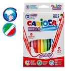 Фломастеры двусторонние 12 цветов Carioca Birello 2.6/4.7 мм, картонная коробка 41457/12